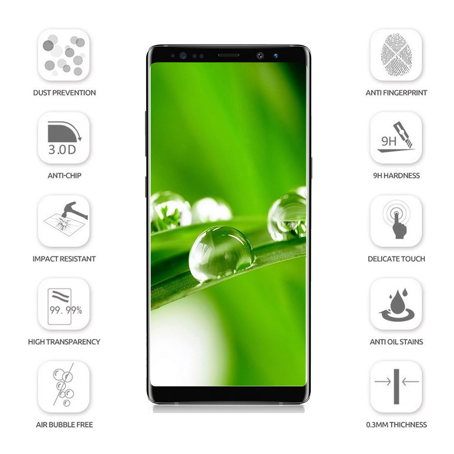 amazon com galaxy note 8 screen protector tempered glass 3d full