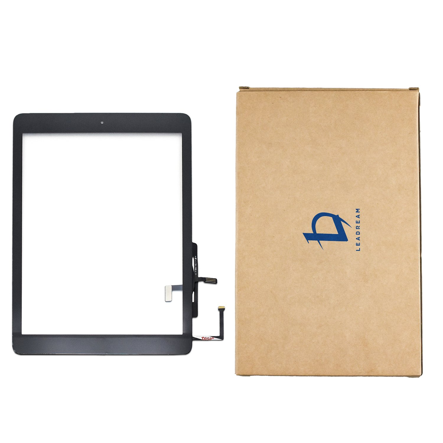 Aiiworld Digitizer Replacement Touch Screen for Ipad Air 1 1st Generation A1474 A1475 A1476, 9.7'' Touch Panel Parts with Home Button, Camera Bracket, Adhesive Pre-installed (Black)
