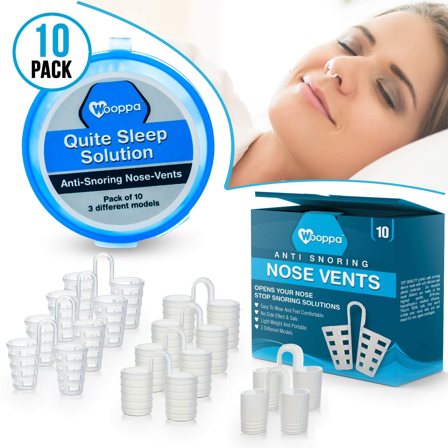 Wooppa Snoring Solution - Anti Snoring Solutions - Anti Snoring Devices - Snore Aids - Nose Vents - Snore Nasal Dilators - 10 Pack - Snore Stopper Set - Reduce Snoring - Stop Snoring by WOOPPA