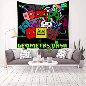 FG7SS6AA5 Geo-me-Try Green Dash Tapestries Decor Wall Hanging Art Tapestry Mural Bedroom Living Room Tablecloth