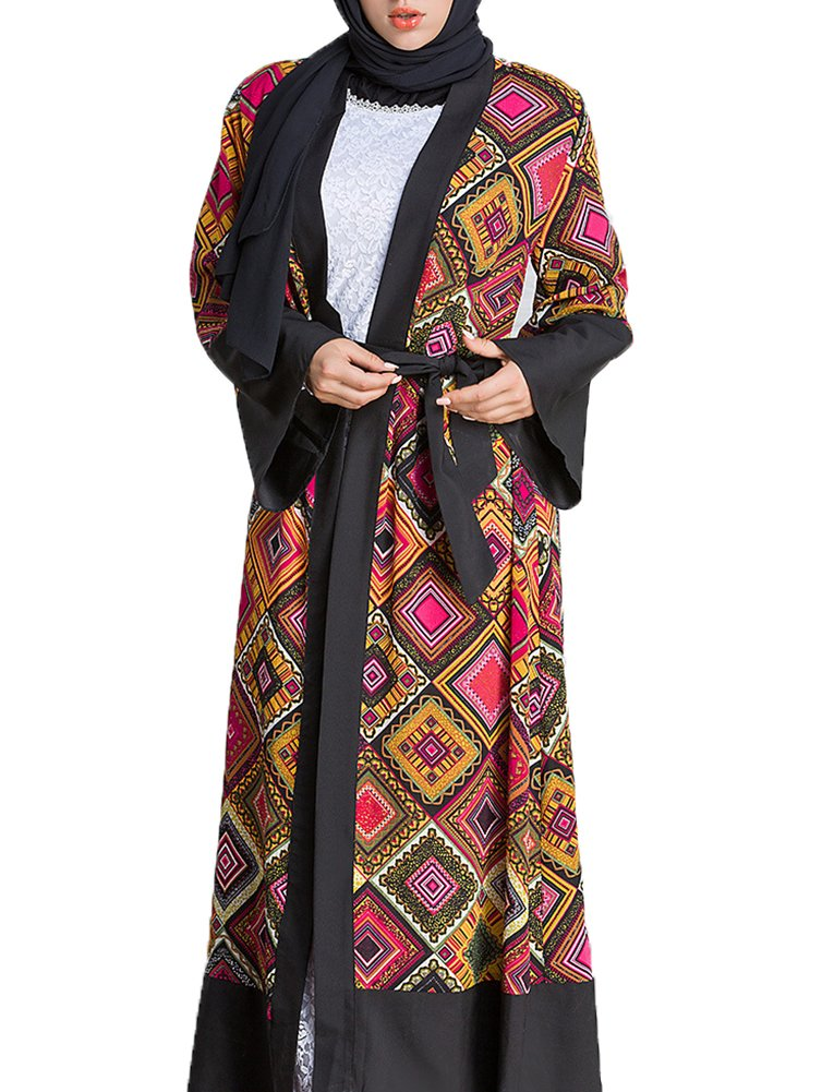 Playworld Women's Geometric Patterns Modest Muslim Islamic Open Front Abaya Jilbab Coat With Belt Red-XXXL