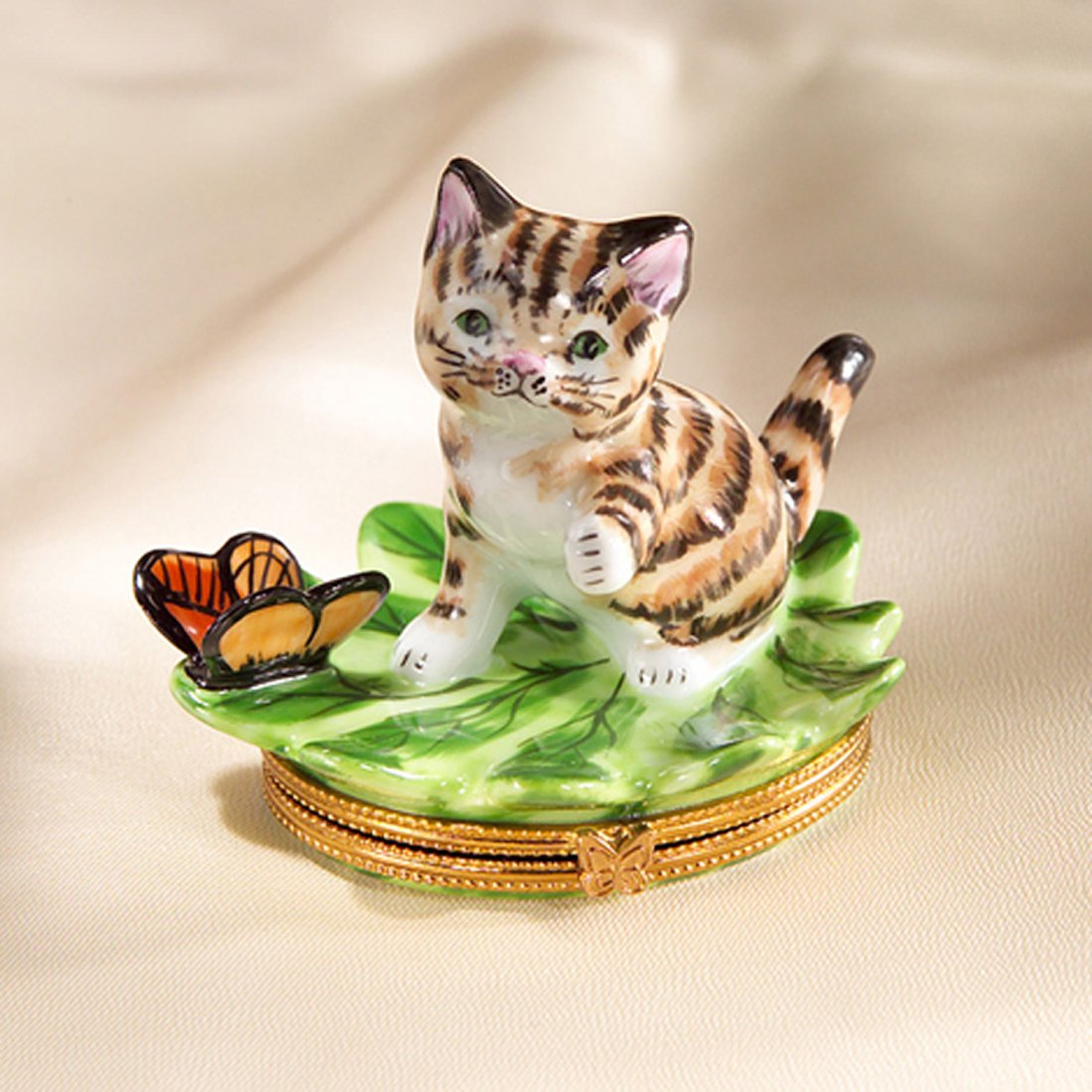 Authentic French Hand Painted Limoges Cat on Leaf with Butterfly Box by Authentic Limoges Boxes