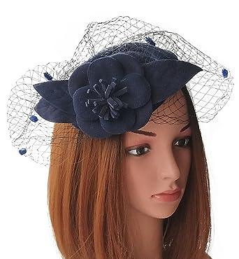 Fascinators Womens Pillbox Hat Wool Felt Veil Cocktail Tea Party Wedding  Hats (Navy Blue)  Amazon.in  Clothing   Accessories c96b0603ff53