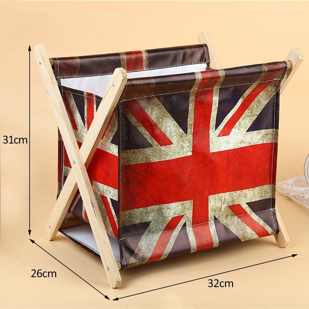 Foldable Storage Baskets - Waterproof Canvas & Pine Wood Storage Bins Square Storage Basket Wooden Shelves Storage for Toys, Desks, Makeup (British flag) by TOPCHANCES (Image #2)