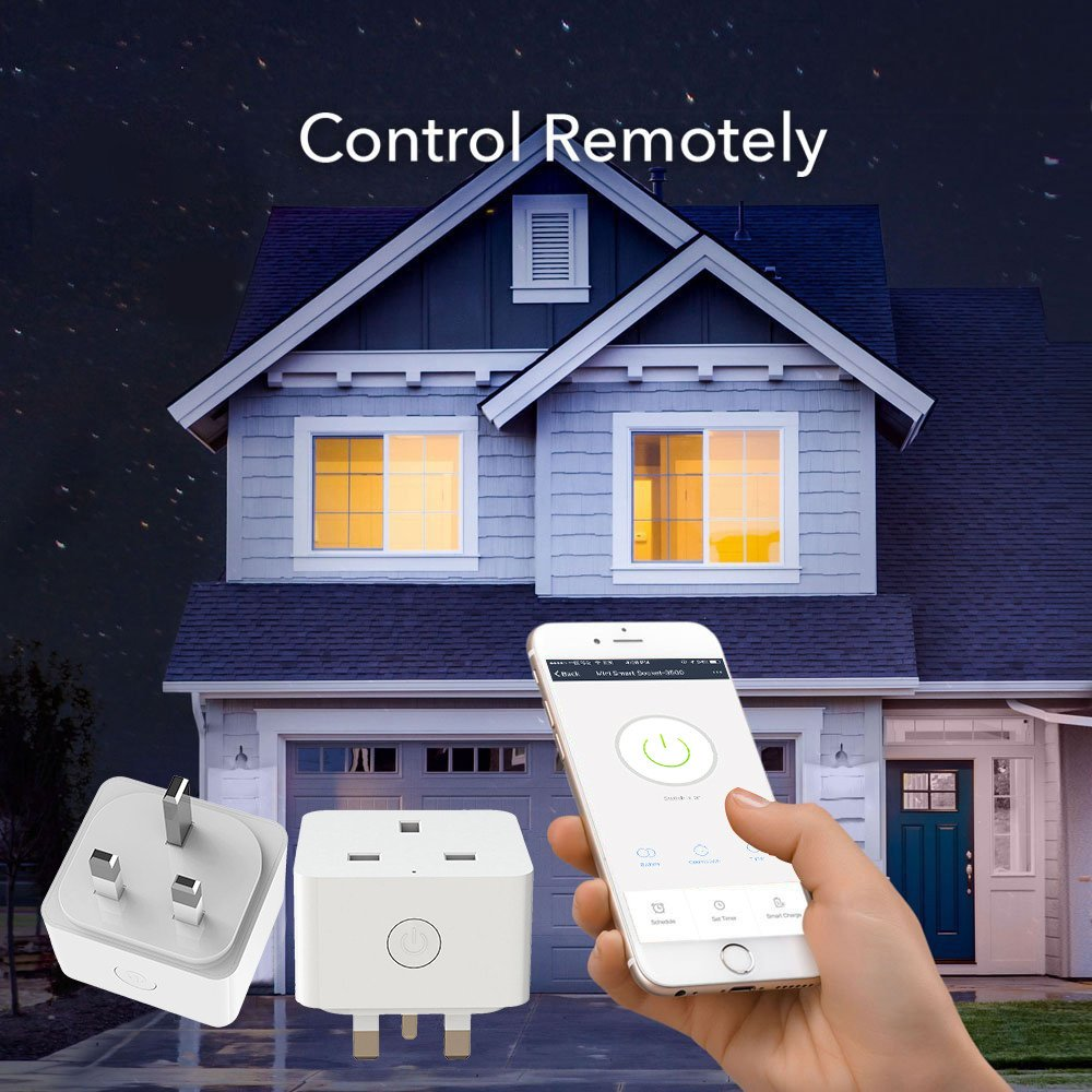Wifi Smart Plug-Dressffe 2018 New Design WiFi Smart Home Power Control Socket for Smart Home Automation,Remote Control Your Household Equipment from Everywhere, Support System: Android IOS, UK Plug