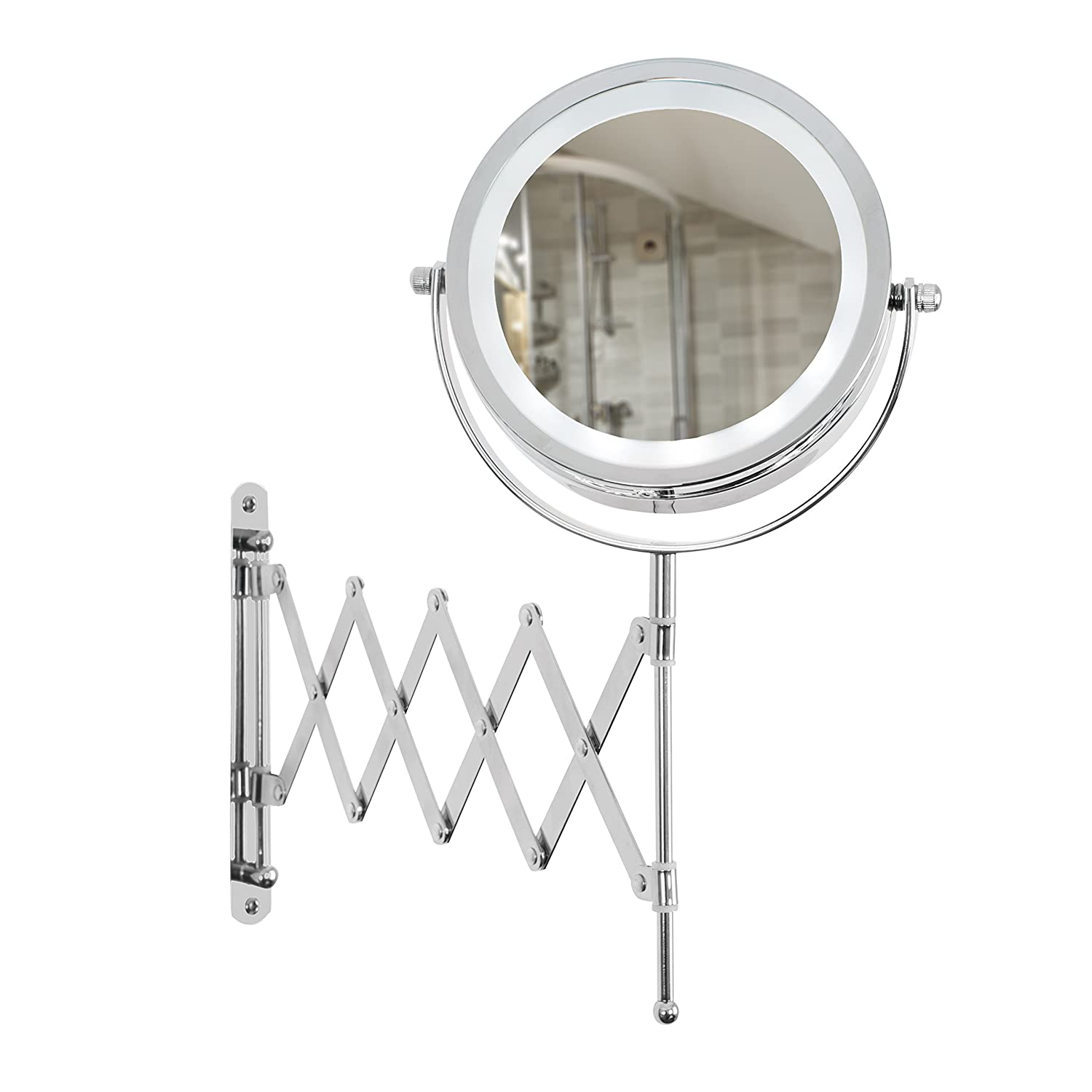 MiniSun Miroir 15 cm, double face - Plat & 3 x grossissement. 12 LED blanc par piles (3 x AAA). Chrome Extensible & orientable. Rasage, Maquillage