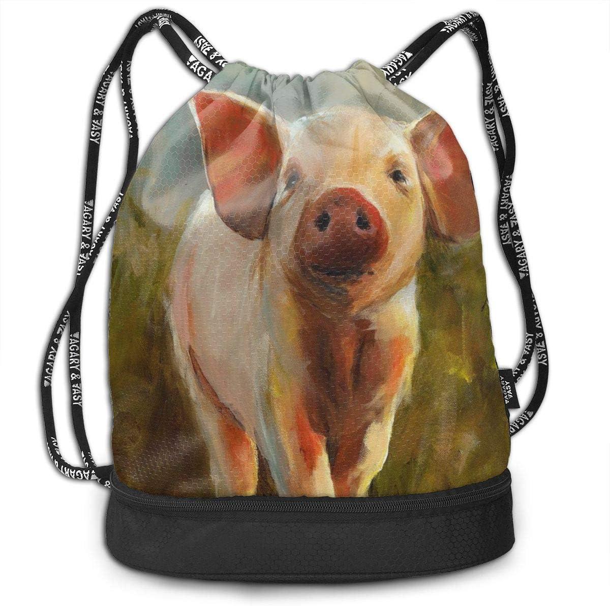 Leila Marcus Mochila con cordón, Bolsas de Cuerda, Pintura de Cerdo, Almacenamiento a Granel para Gimnasio, trelling, Senderismo