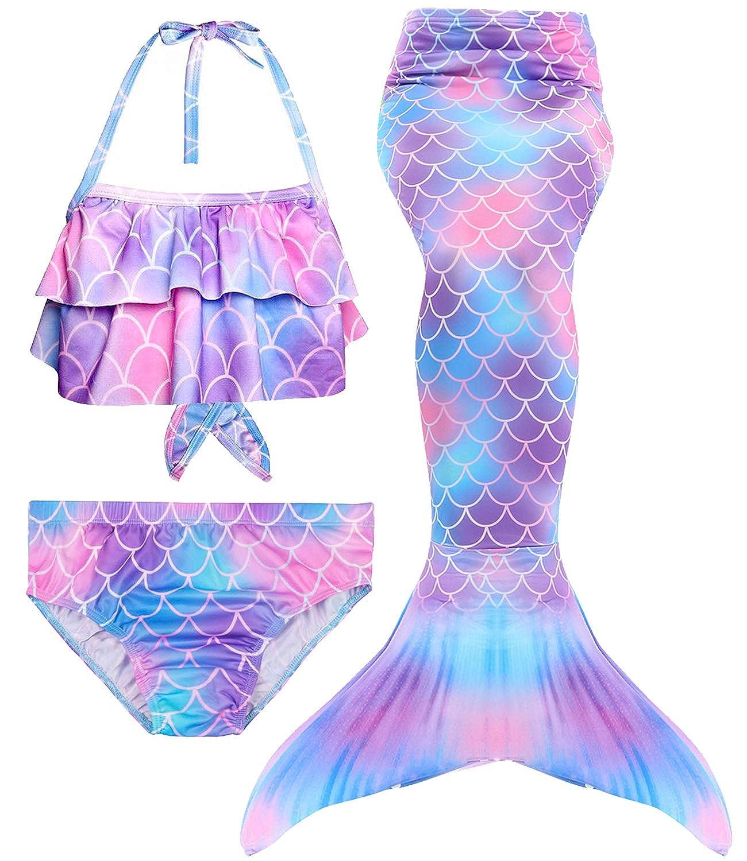 Amazon.com: Traje de baño con cola de sirena para niñas de 3 ...