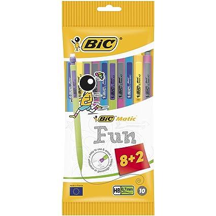 BIC Matic Fun - Paquete de 10 portaminas con mina HB de 0.7 mm, colores