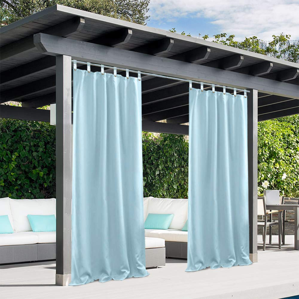 Pro Space Privacy Outdoor Single Window Curtain Panel 50x120-Inch for Porch Patio Blackout UV Ray Protected Waterproof-Easy to Hang On,Dont Need to Remove Curtain Rod