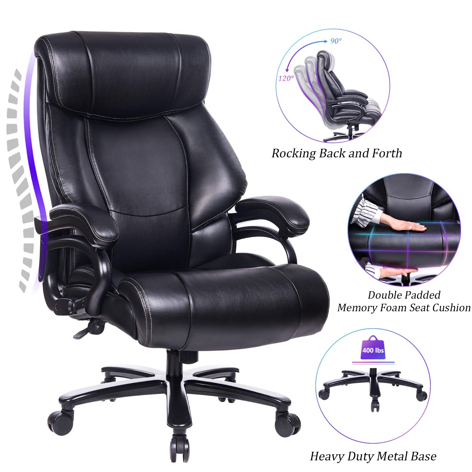 Reficcer High Back Big And Tall Executive Office Desk Chair - Office Chairs 400 Pound Capacity