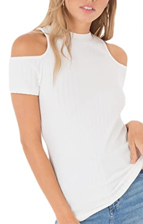 cea41f9128ffef Black Swan BT181362 Rylan Ribbed Cold Shoulder Top in Bright White (x-Small)