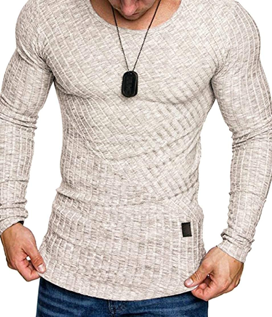 GloryA Men Long Sleeve Round Neck Plain Irregular Tops T-Shirts