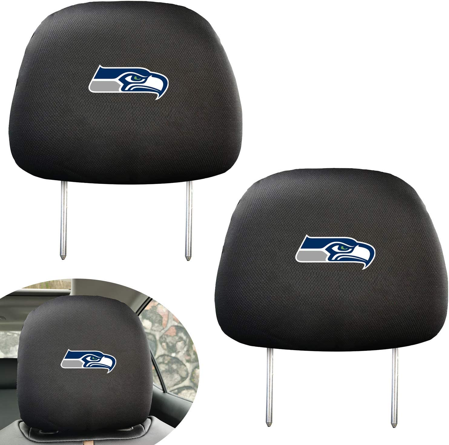 2Pcs Car Head Rest Covers for Las Vegas Raiders Luxury Black Slip Over Printed Headrest Covers Universal Car Interior Accessories Fit for Cadillac Hyundai Lexus BMW Audi Toyota Ford Chevrolet