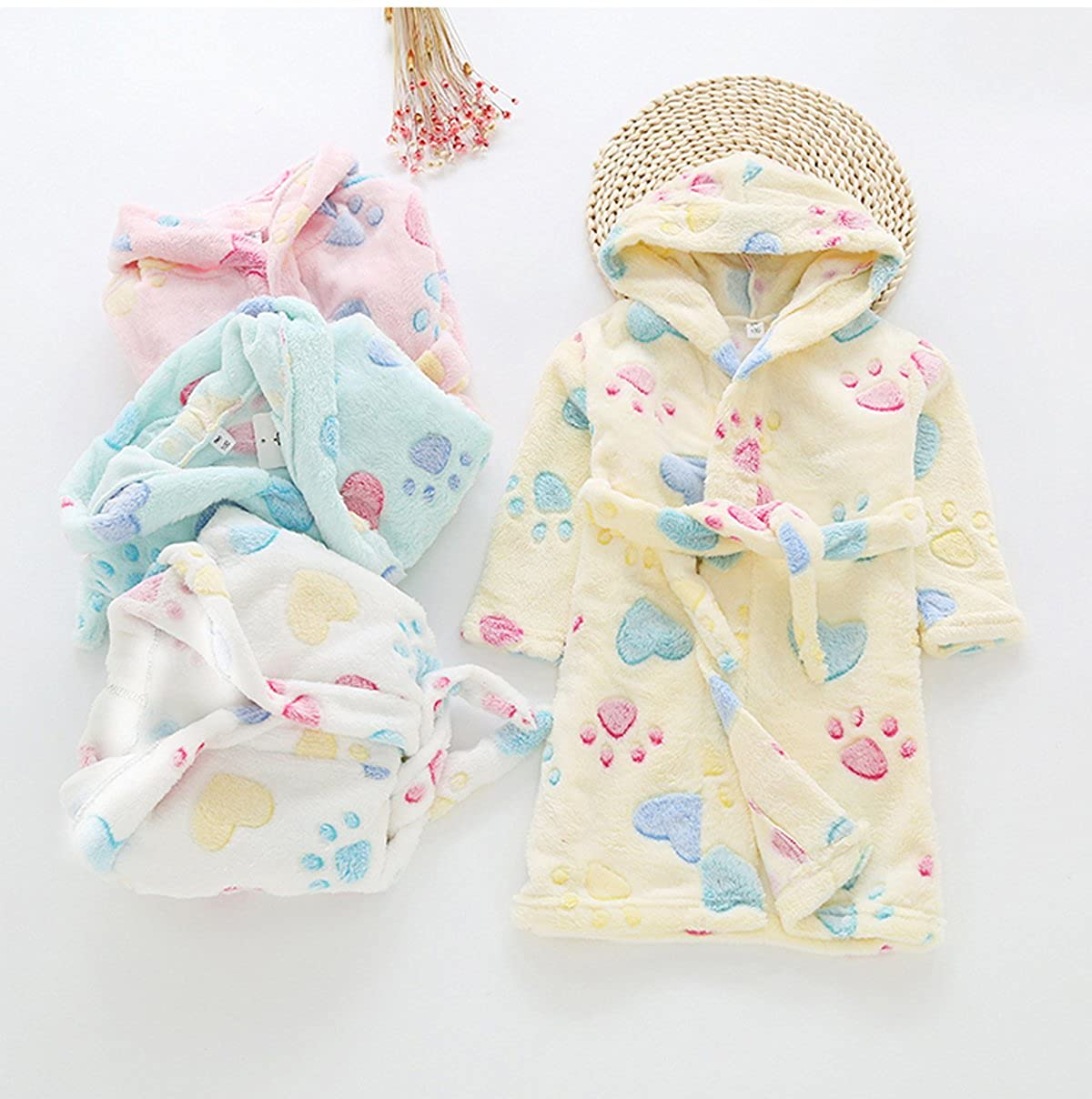 TOLLION Toddlers//Kids Hooded Robe Soft Fleece Bathrobe Boys Girls Pajamas Baby Sleepwear