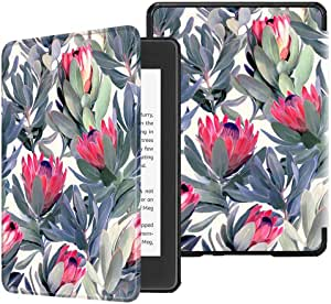 TERSELY Slimshell Case Cover for All-New Kindle Paperwhite 10th Generation-2018 (Model No. PQ94WIF), Smart Shell Cover with Auto Sleep/Wake for Amazon Kindle Paperwhite 10th (Flower Bush)