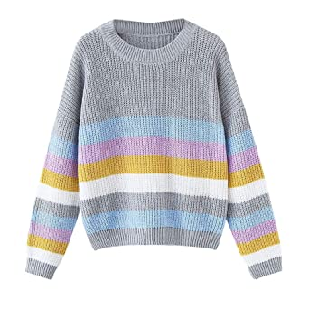 JOFOW Women Striped Sweater, Colorful Striped Block Patchwork Knitwear Casual Knitted Tops Pullover at Amazon Womens Clothing store: