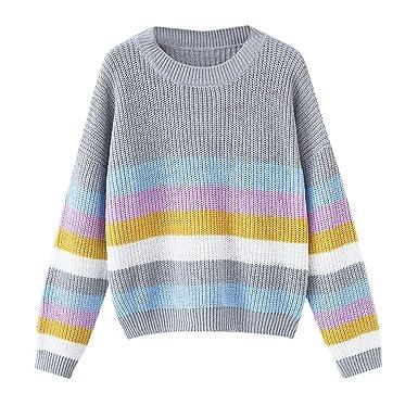 50dd4bdcc114c6 Damen Feinstricken Pullover Herbst und Winter Strickpullover Mode Farbe  Streifen Langarm Lose Top Bluse