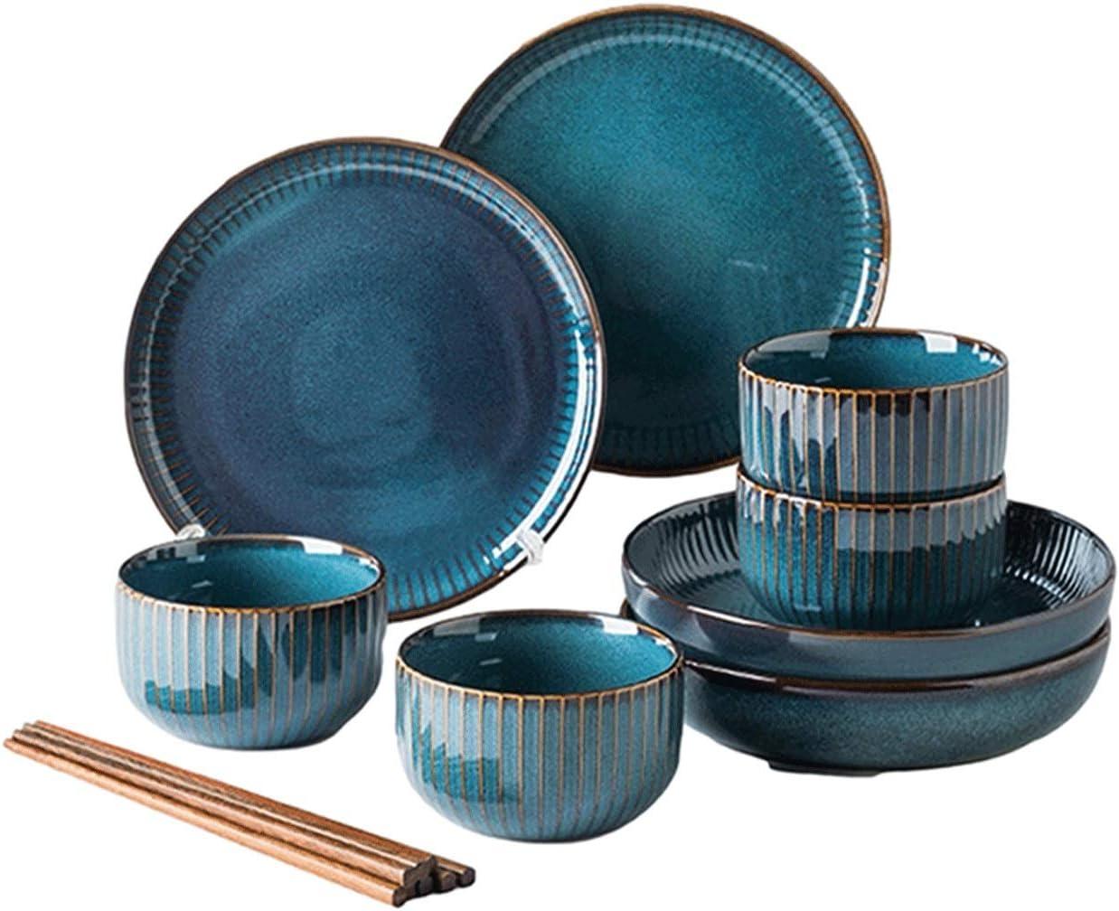 12 piezas/20 piezas/28 piezas Cena Combi Colocar con Azul Luz de las estrellas Serie- Familiar cerámica vajilla Juego de platos por Bol de arroz/ palillos para 2-6 personas Clásico Vajilla