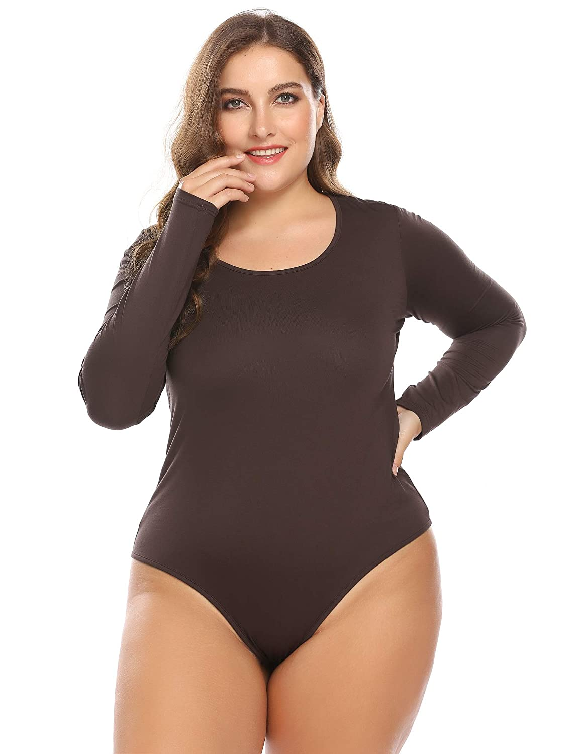INVOLAND Plus Size Long Sleeve Bodysuits Tops for Women Leotards One-Piece Shirts with Scoop Neck Stretchy Basic Top Bodycon Babydoll Jumpsuit Lingerie Underwear