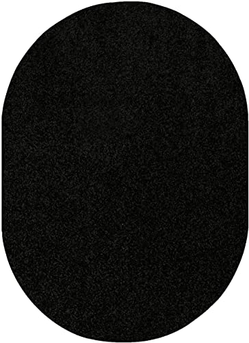 Home Queen Pet Friendly Solid Color Area Rugs Black – 8 x10 Oval