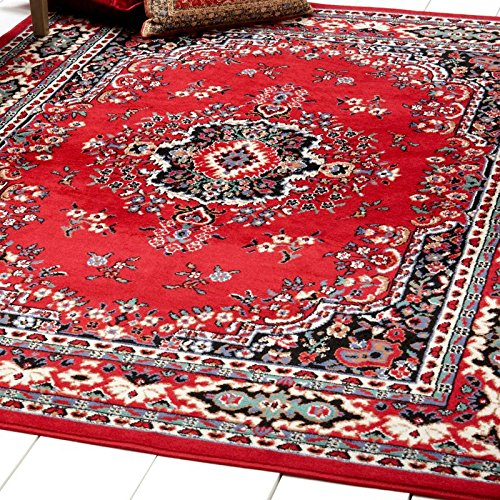 Home Dynamix Premium Sakarya Area Rug by Traditional Persian-Inspired Carpet | Stylish Medallion Print and Classic Boarder Design | Red, Cream, Multicolor 1'9 x 7'2 Runner Antique Persian Runner