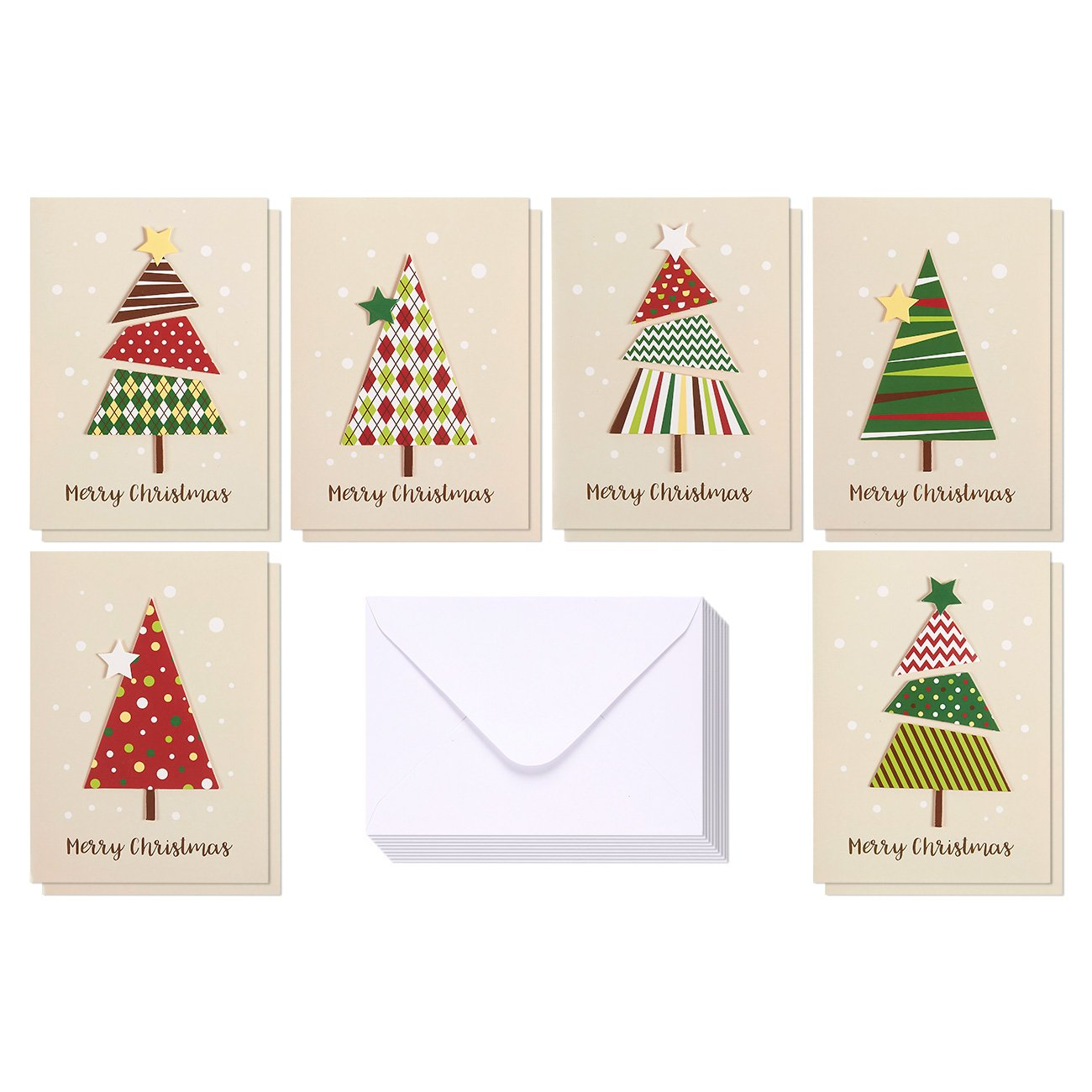 Amazon.com : Set of 12 Merry Christmas Greetings Cards - Handmade ...