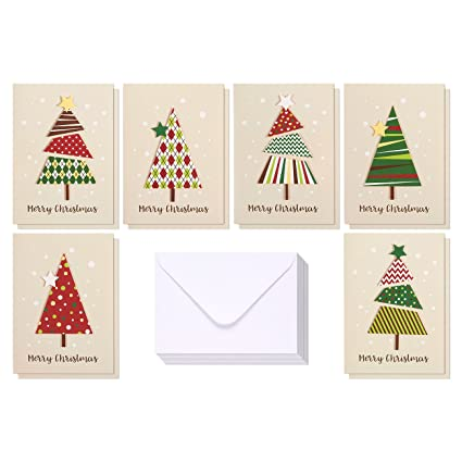 set of 12 merry christmas greetings cards handmade christmas cards with assorted xmas tree themes - Christmas Phrases For Cards