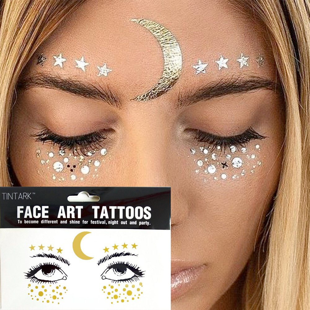 Hatcher lee 3 Sheets Face Tattoo Sticker Metallic Shiny Temporary Water Transfer Tattoo for Professional Make Up Dancer Costume Parties, Shows Gold Glitter (3 Sheets-002) by Hatcher lee (Image #3)