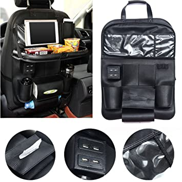 Caveen Auto Sitz Rückseite Organizer Kick Matte Luxus Leder Faltbare 4 Autositz Rückseite Ipad Halter Aufbewahrung Tasche Mit Tisch Tablett Baby