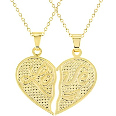 595d5095b3 Image Unavailable. Image not available for. Color: In Season Jewelry 18k  Gold Plated His Her Heart Love Couple ...