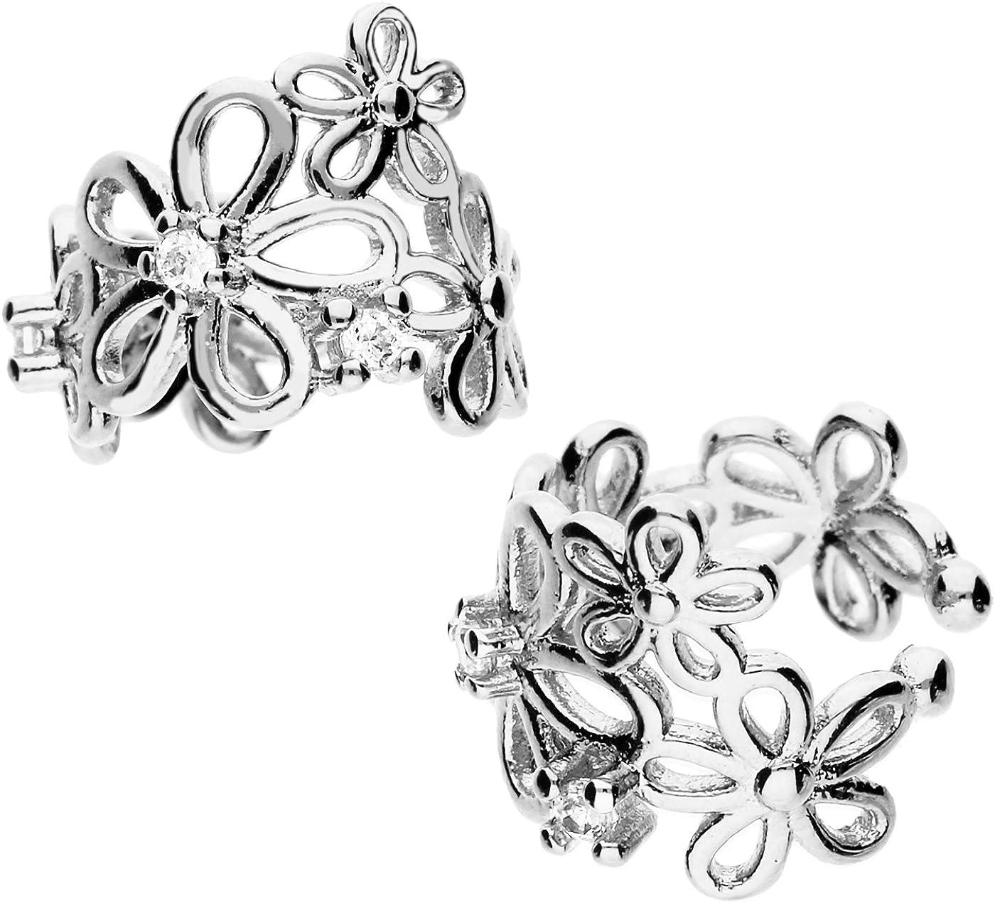 Mya artMyasiohr-24 –Pendientes abrazadera de plata de ley 925, diseño vintage de flores con 6circonitas