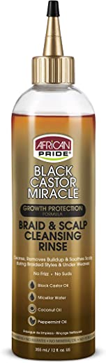 African Pride Black Castor Miracle Braid & Scalp Cleansing Rinse (3 Pack) - Removes Build Up & Soothes Scalp, No Frizz, Contains Black Castor Oil, Micellar Water, Coconut Oil, Peppermint Oil, 12 oz