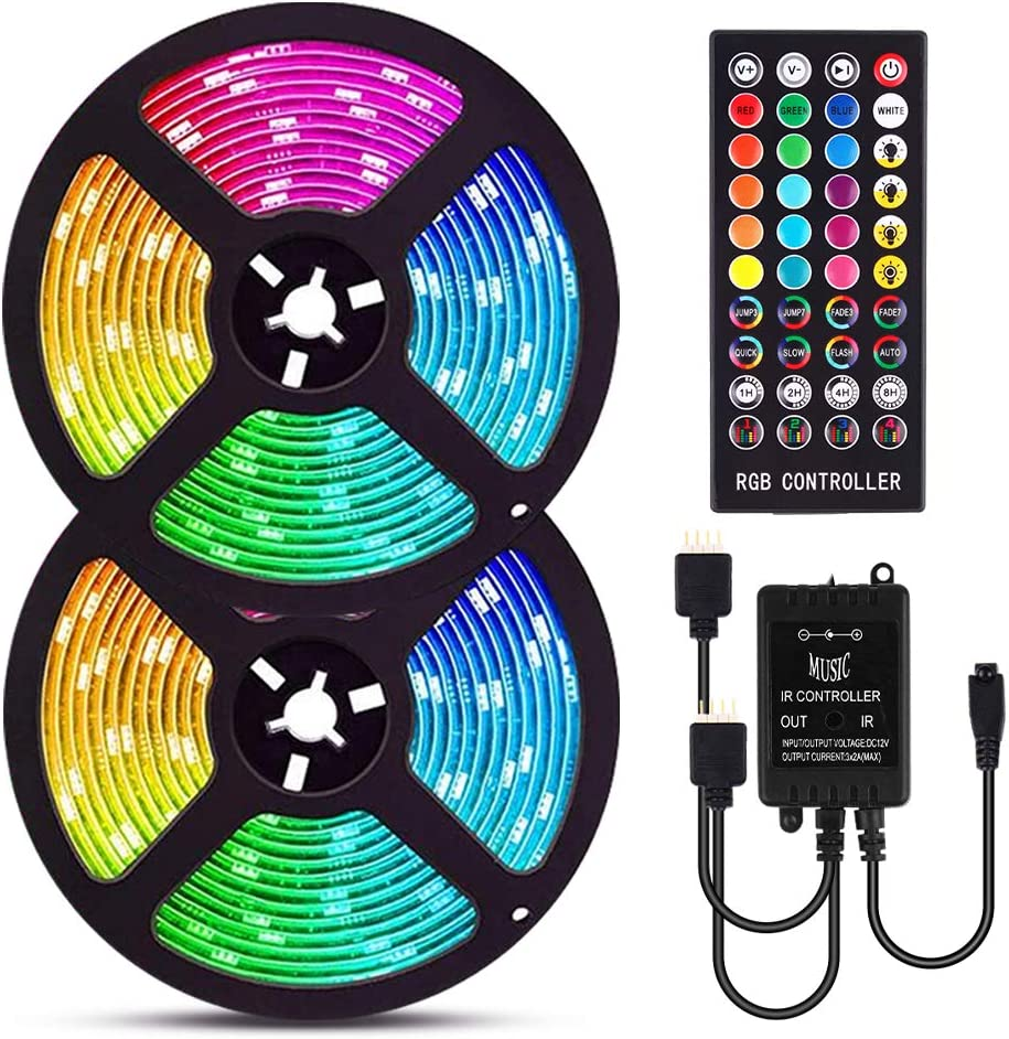 LED Strip Lights, 32.8ft RGB LED Light Strip Music Sync, Color Changing LED Strip Lights with Remote for Home Kitchen Bedroom 5050 Waterproof Strip Lights for Bar Home Decor