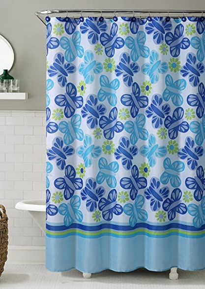 MDesign Paisley Fabric Shower Curtain Teal And White