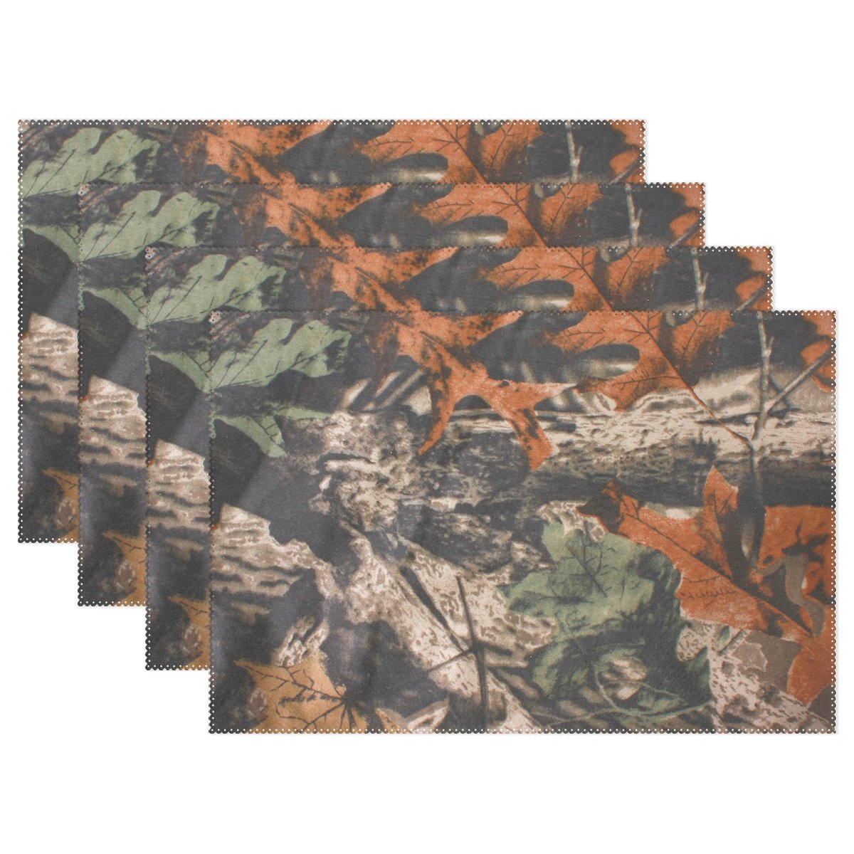 naanle迷彩プレースマット、迷彩Leave耐熱Washableテーブルデコレーションを配置用マットキッチンダイニングテーブル 12*18inch 1211185p145c160s252 6 マルチカラー B07588J9KV