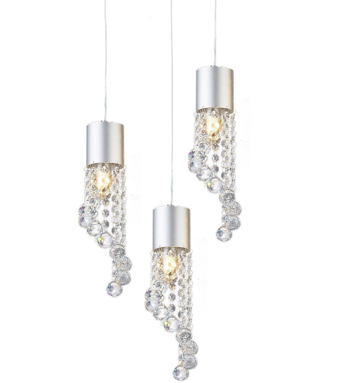 Lightess Chandelier Lighting Modern Crystal Pendant Ceiling Hanging Light Fixture 3 Heads