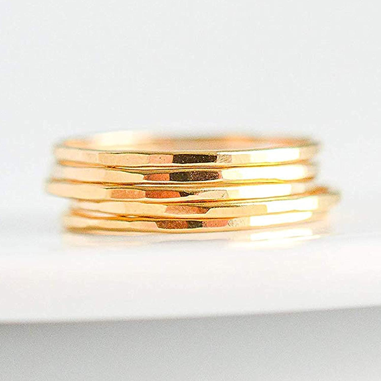 14K Gold Rings 5 Stack
