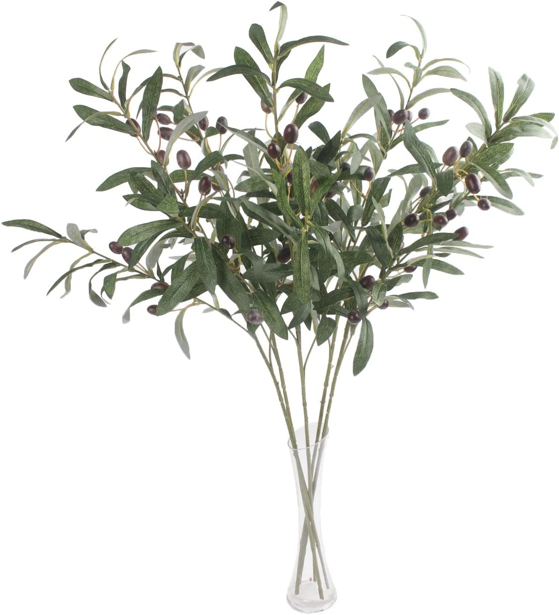 JAROWN 5 pcs 28 inch Green Olive Artificial Plants Branches Fruits Fake Flowers Branch Leaves for Home Office Crafts Decoration