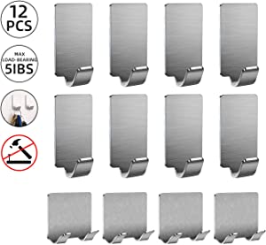 Adhesive Hooks for Hanging, Razor Holder for Shower, Towel Hooks for Bathrooms, 12Pack Heavy Duty Shower Wall Holder for Coat, Key, Hats, Bedroom, Toilet, Door (4 Razor Holders+8 Single Hooks)