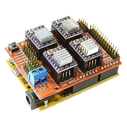 CNC shield V3.0 + UNO R3 + 4pcs controladores de motor paso a paso ...