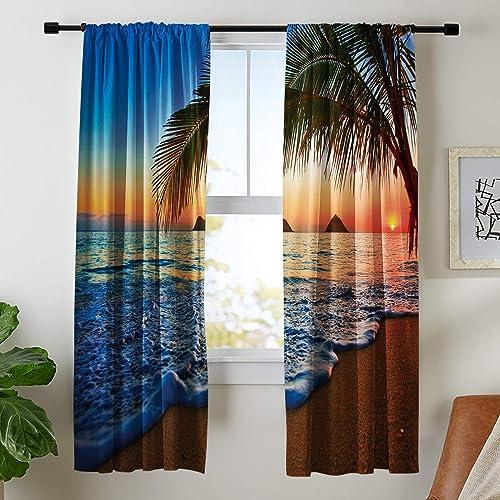 Riyidecor Hawaiian Ocean Sunrise Curtains Beach Rod Rocket Sky Sea Wavy Surface Scene Tropical Palm Trees Coast Printed Living Room Bedroom Window Drapes Treatment Fabric 2 Panels 52 x 84 Inch