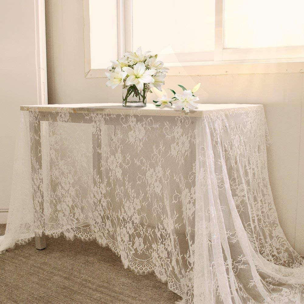 QueenDream White Lace Tablecloth Kitchen Tablecloths for Rectangle Tables Size 60 X 120 for Party Banquet Dining Wedding Decorations