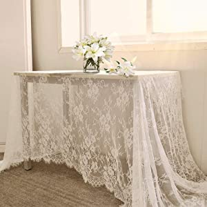 B-COOL 60 X120 Inch Classic White Wedding Lace Tablecloth Lace Tablecloth Overlay Vintage Embroidered Lace Overlay for Rustic Wedding Reception Decor Spring Summer Outdoor Party