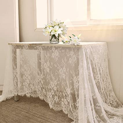 B COOL 60u0026quot; X120u0026quot; Classic White Wedding Lace Tablecloth Lace  Tablecloth Overlay Vintage