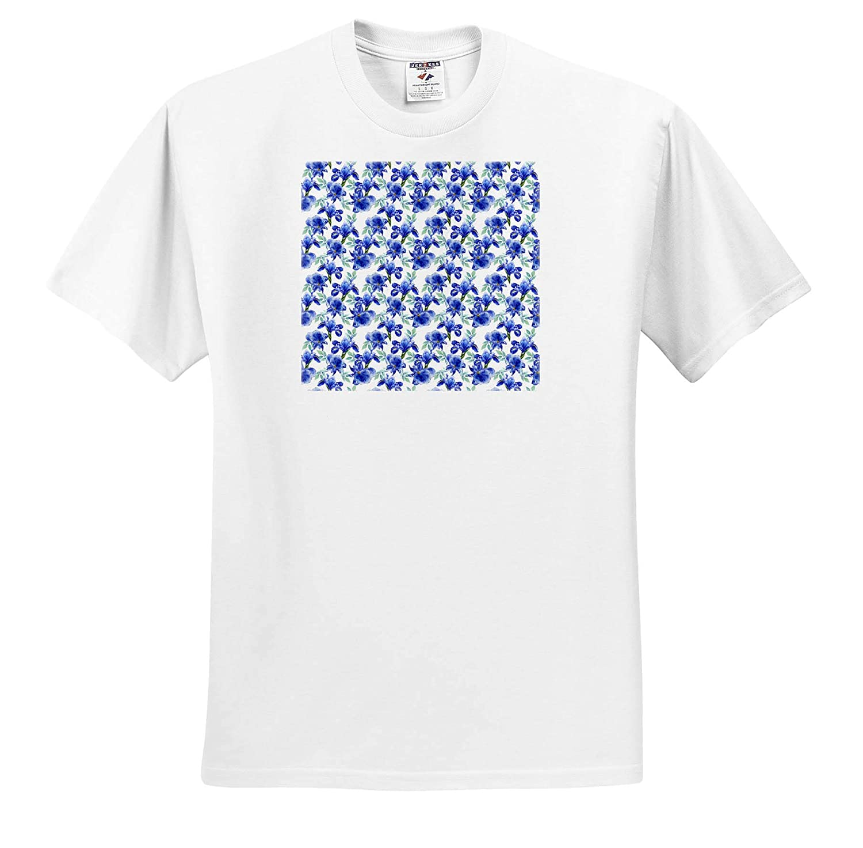 3dRose Alexis Design Pattern of Blue iris Flowers Pattern Floral Iris T-Shirts Dark Green Leaves on White Background