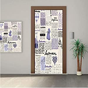 """Old Newspaper Decor ONE Piece Door Stickers,Lavender Retro Pattern Hearts Herbs Organic Fragrance Essence Decorative 30x80"""" Peel & Stick Removable Wall Mural,Decal,Poster for Door/Wall/Fridge Home Dec"""