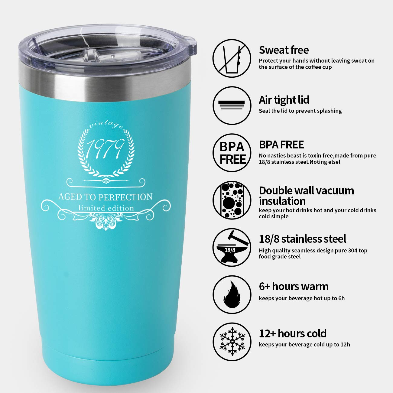 20oz Stainless Steel Tumbler Best Anniversary Presents Ideas Him Her Husband Wife Mom Dad 1949 70th Birthday Gifts for Women and Men Tumbler Black, 1949 Party 70th birthday decorations