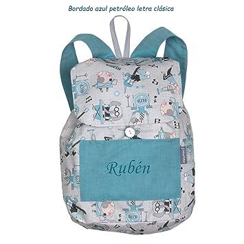 Mochila músicos confeccionada en tela de algodón y personalizada con nombre (24 x 34 cm. aproximadamente): Amazon.es: Bebé