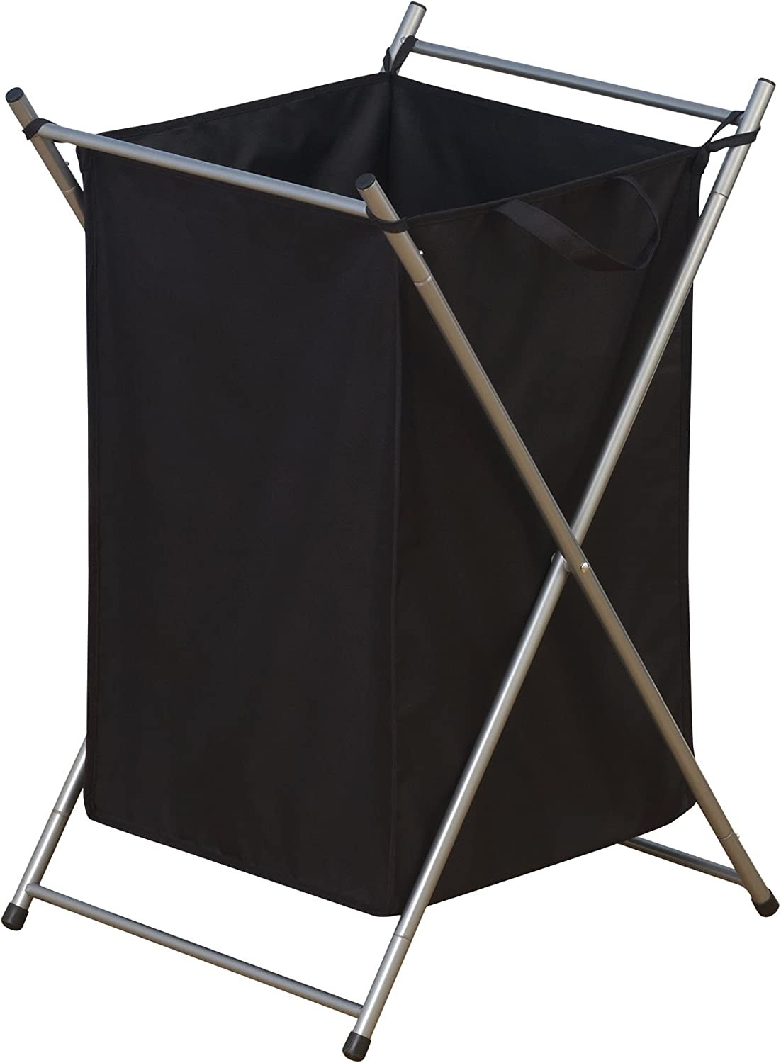 Household Essentials Folding Laundry Hamper with Black Polyester Bag, Satin Silver Frame